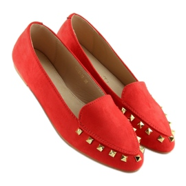 Mokasyny damskie z ćwiekami czerwone 1388 Red 5