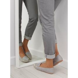 Mokasyny damskie z ćwiekami szare 1388 Grey 1