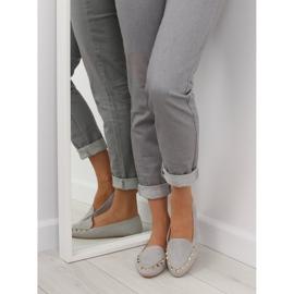 Mokasyny damskie z ćwiekami szare 1388 Grey 2