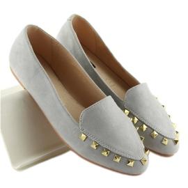 Mokasyny damskie z ćwiekami szare 1388 Grey 5