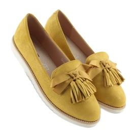 Mokasyny damskie z frędzelkami żółte 7214 Yellow 3