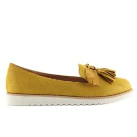 Mokasyny damskie z frędzelkami żółte 7214 Yellow 1
