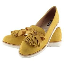 Mokasyny damskie z frędzelkami żółte 7214 Yellow 2