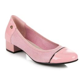Vices Casualowe buty na niskim obcasie różowe 4