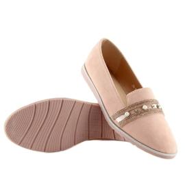 Mokasyny lordsy różowe JN-181 Pink 4