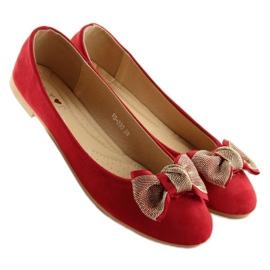 Balerinki damskie klasyczne czerwone vs-330 Red 1