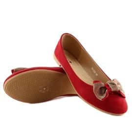 Balerinki damskie klasyczne czerwone vs-330 Red 2