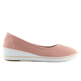 Baleriny na koturnie różowe D73 pink 2