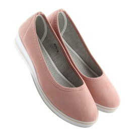 Baleriny na koturnie różowe D73 pink 3