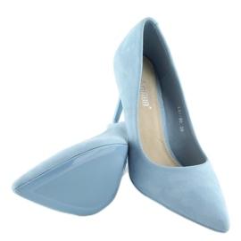 Zamszowe szpilki Candy Shop niebieskie LEI-90 L.BLUE 4