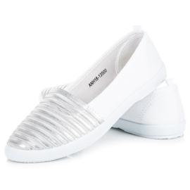 Mckeylor Biało Srebrne Trampki Slip On białe 4