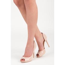 Seastar Lakierowane szpilki open toe brązowe 1