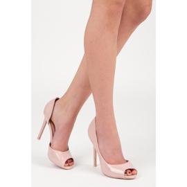 Seastar Lakierowane szpilki open toe różowe 1