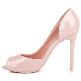 Seastar Lakierowane szpilki open toe różowe 3