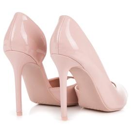 Seastar Lakierowane szpilki open toe różowe 4