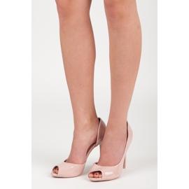 Seastar Lakierowane szpilki open toe różowe 6
