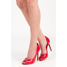 Seastar Lakierowane szpilki open toe czerwone 1