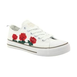 American Club Trampki haftowane róże American 17035 czerwone białe 1