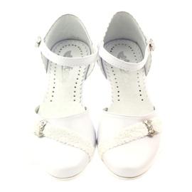Czółenka balerinki komunijne Miko 714 białe 4