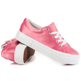 Kylie Satynowe Trampki Na Platformie różowe 4