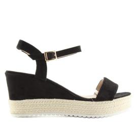 Sandałki na koturnie espadryle czarne black 4