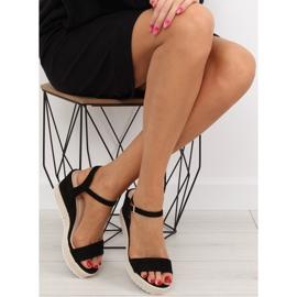 Sandałki na koturnie espadryle czarne black 1