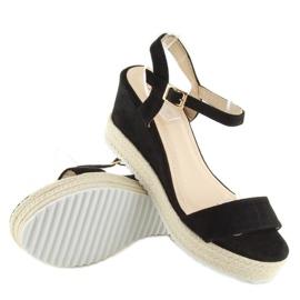 Sandałki na koturnie espadryle czarne black 2