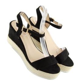 Sandałki na koturnie espadryle czarne black 3