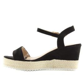 Sandałki na koturnie espadryle czarne black 5