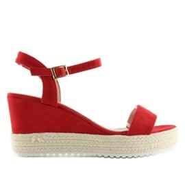 Sandałki na koturnie espadryle czerwone R120P Red 5