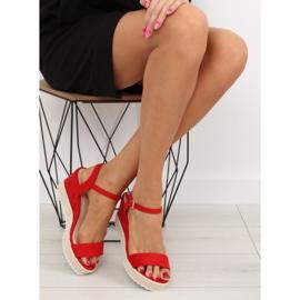 Sandałki na koturnie espadryle czerwone R120P Red 2