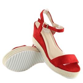 Sandałki na koturnie espadryle czerwone R120P Red 3