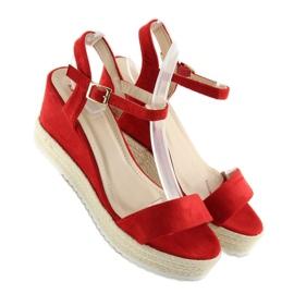 Sandałki na koturnie espadryle czerwone R120P Red 4
