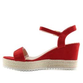 Sandałki na koturnie espadryle czerwone R120P Red 6