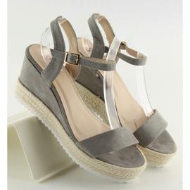 Sandałki na koturnie espadryle szare grey 4