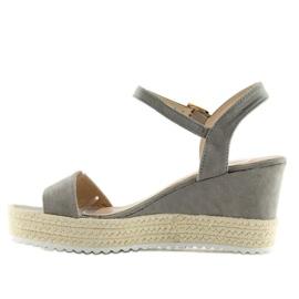 Sandałki na koturnie espadryle szare grey 6