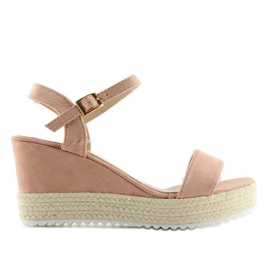 Sandałki na koturnie espadryle różowe pink 5