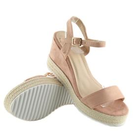 Sandałki na koturnie espadryle różowe pink 1