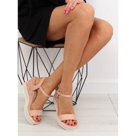 Sandałki na koturnie espadryle różowe pink 3