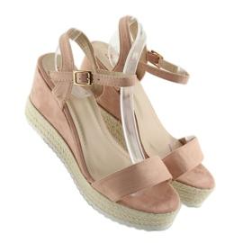 Sandałki na koturnie espadryle różowe pink 4