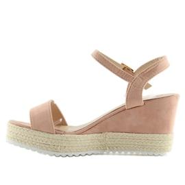 Sandałki na koturnie espadryle różowe pink 6
