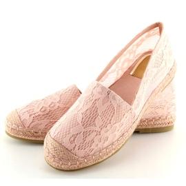 Espadryle koronkowe różowe BB15P Pink 4