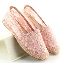 Espadryle koronkowe różowe BB15P Pink 5