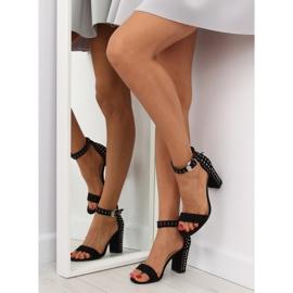 Sandałki na szerokim obcasie czarne black 6