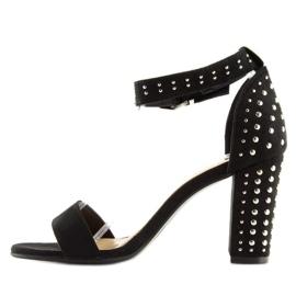 Sandałki na szerokim obcasie czarne black 4