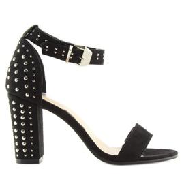 Sandałki na szerokim obcasie czarne black 7