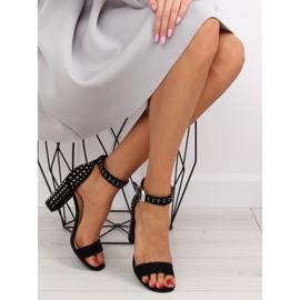 Sandałki na szerokim obcasie czarne black 8