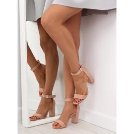 Sandałki na szerokim obcasie różowe pink 6
