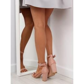 Sandałki na szerokim obcasie różowe pink 1