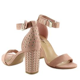 Sandałki na szerokim obcasie różowe pink 5